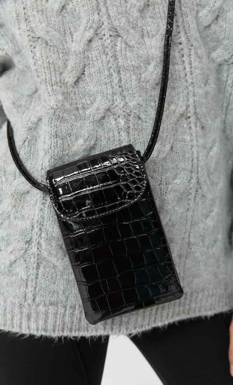 Mock Croc Smartphone Crossbody Bag Женская Коллекция Черный 103