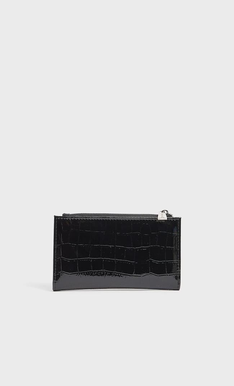 Базовый Лакированный Кошелек Женская Коллекция Черный 103