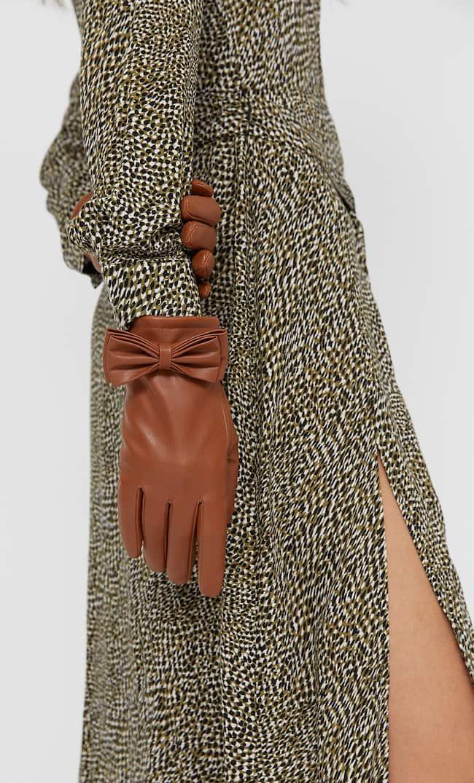 Перчатки С Бантом Женская Коллекция Коричневый 103
