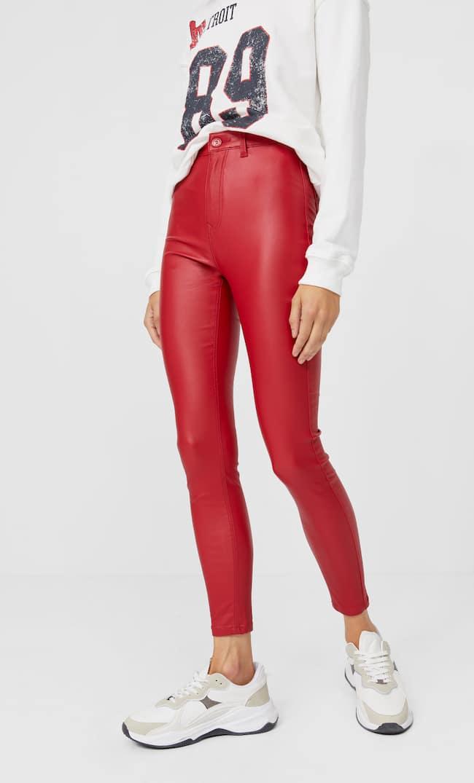 Брюки Из Ткани С Вощеным Покрытием С Очень Высокой Талией Женская Коллекция Красный 34