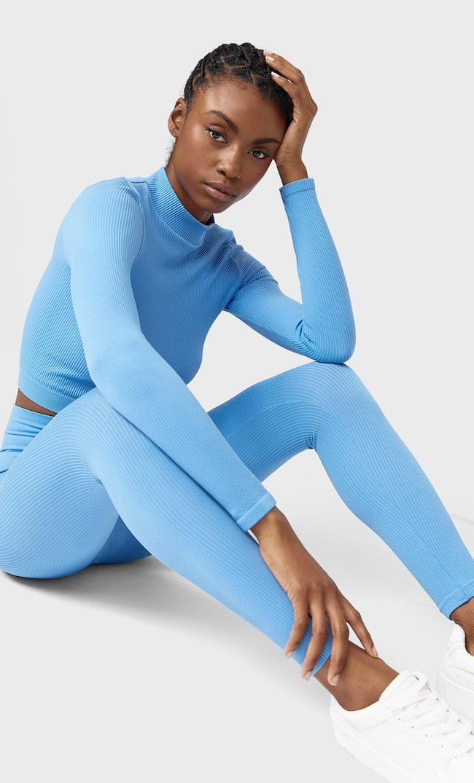 Бесшовные Легинсы Женская Коллекция Синий L