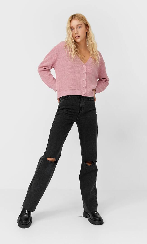 Базовый Кардиган С Застежкой На Пуговицы Женская Коллекция Цвет Розового Макияжа S