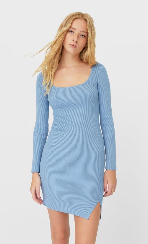 Трикотажное Платье Женская Коллекция Небесно-Голубой L