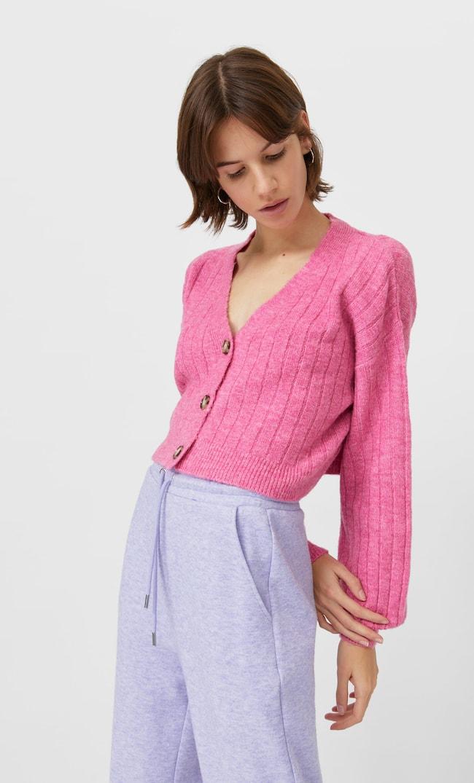 Укороченный Кардиган Женская Коллекция Ярко-Розовый M