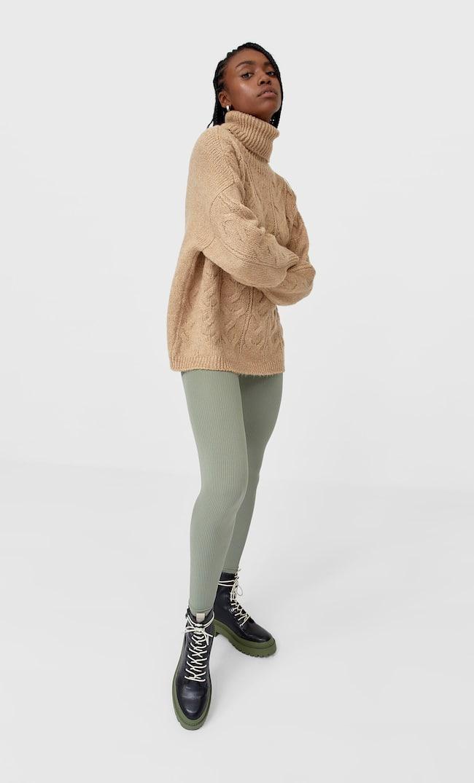Свитер Из Валяной Пряжи С Узором «Косы» Женская Коллекция Бежевый M