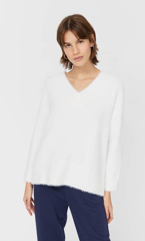 V-Neck Faux Fur Sweater Женская Коллекция Цвет Небеленого Полотна M