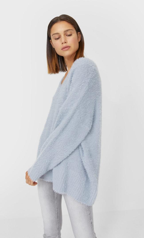 V-Neck Faux Fur Sweater Женская Коллекция Пестро-Серый S