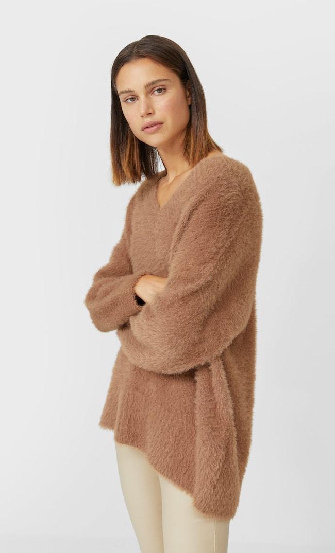 V-Neck Faux Fur Sweater Женская Коллекция Бежевый M