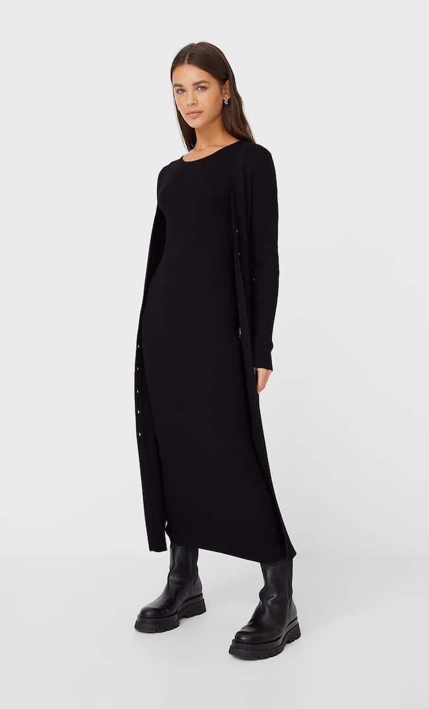 Длинное Трикотажное Платье С Пуговицами Женская Коллекция Черный L