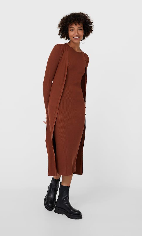 Длинное Трикотажное Платье С Пуговицами Женская Коллекция Цвет Темной Верблюжьей Шерсти M