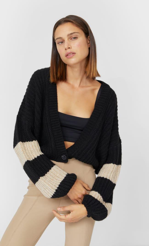 Cropped Striped Cardigan Женская Коллекция Черный S