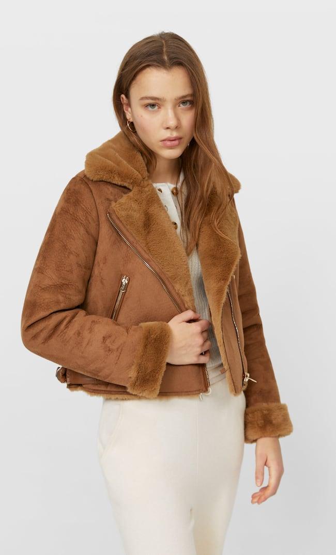 Короткая Куртка В Байкерском Стиле Женская Коллекция Цвет Темной Верблюжьей Шерсти Xl