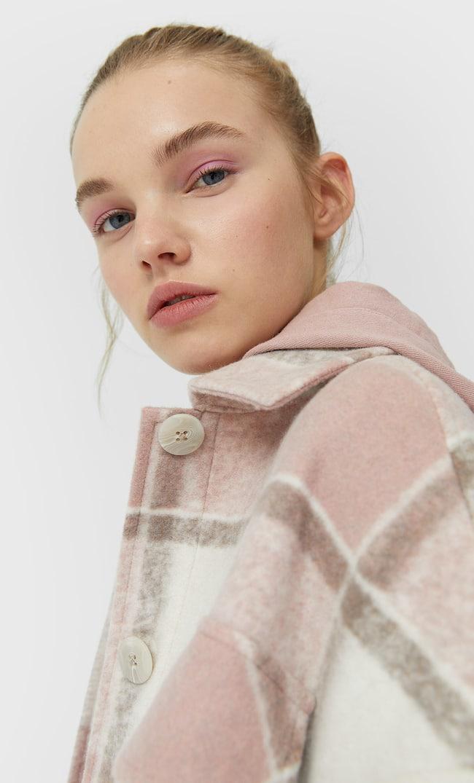 Трикотажная Куртка В Клетку Женская Коллекция Пастельно-Розовый S