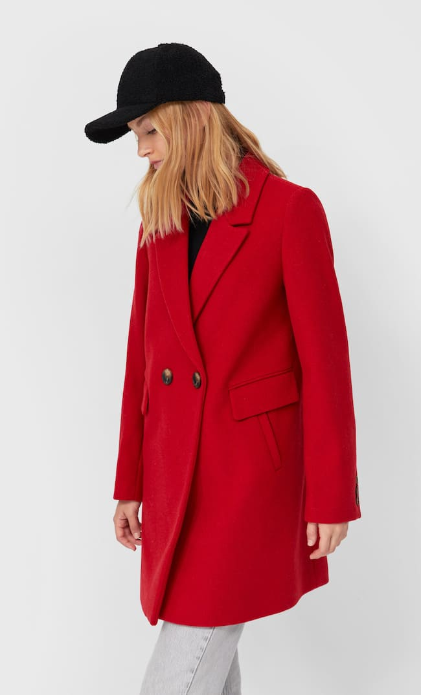 Базовое Драповое Пальто Женская Коллекция Красный M