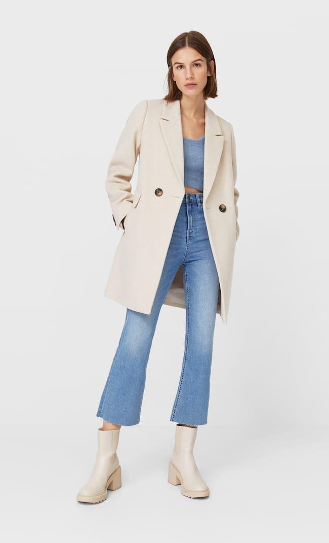 Базовое Пальто Женская Коллекция Цвет Небеленого Полотна L