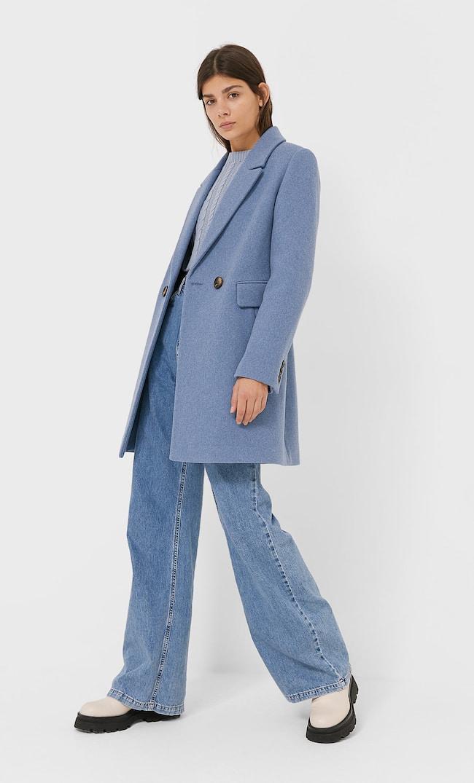 Базовое Пальто Женская Коллекция Небесно-Голубой L