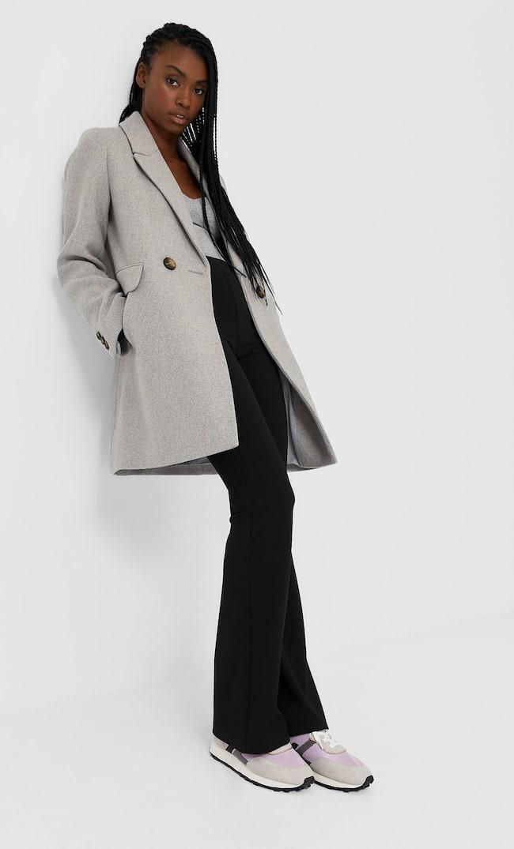 Базовое Пальто Женская Коллекция Пестро-Серый L