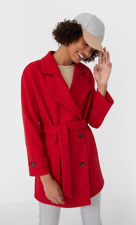 Трикотажный Тренч Женская Коллекция Красный Xs