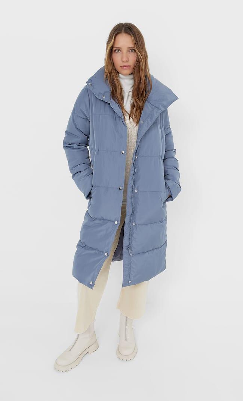 Длинное Стеганое Пальто Женская Коллекция Индиго M