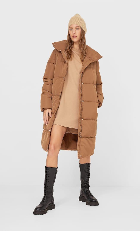 Длинное Стеганое Пальто Женская Коллекция Жженый L