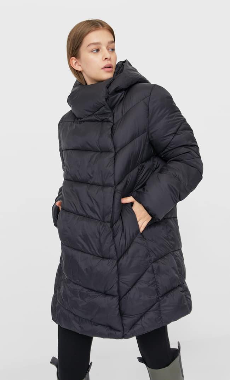 Стеганое Пальто С Двойным Воротником Женская Коллекция Черный S