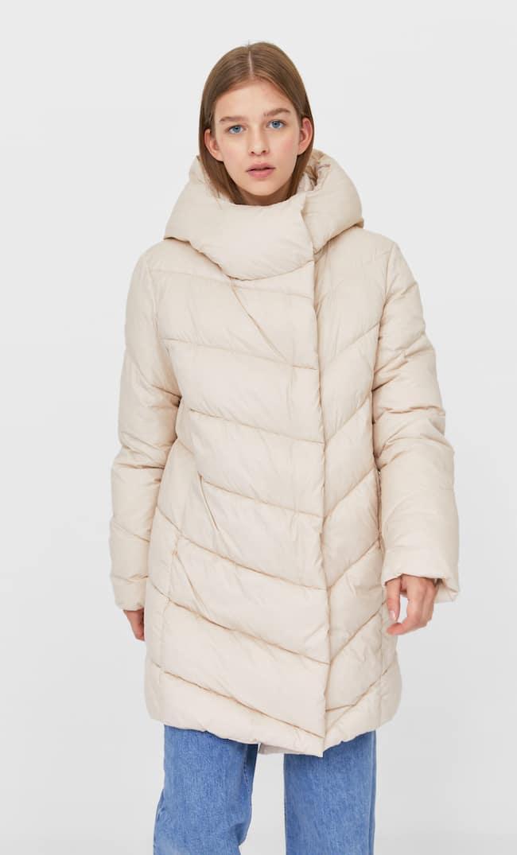 Стеганое Пальто С Двойным Воротником Женская Коллекция Multicolor M