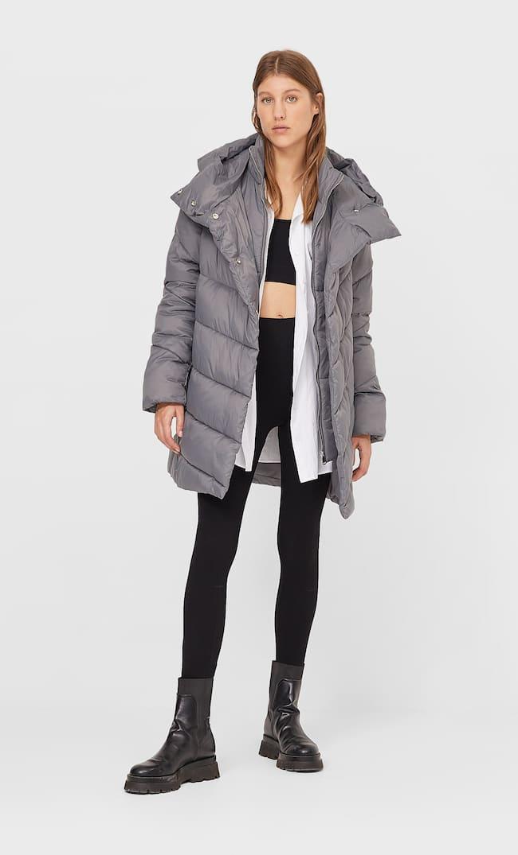Стеганое Пальто С Двойным Воротником Женская Коллекция Серый Средний S