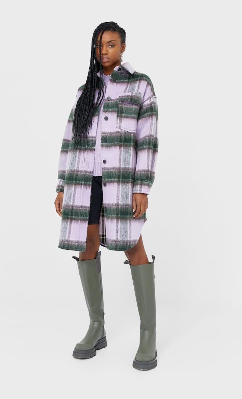 Длинная Куртка-Рубашка В Клетку Женская Коллекция Сиреневый M
