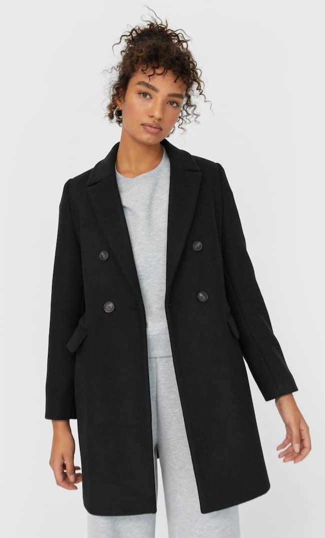 Двубортное Драповое Пальто Женская Коллекция Черный L