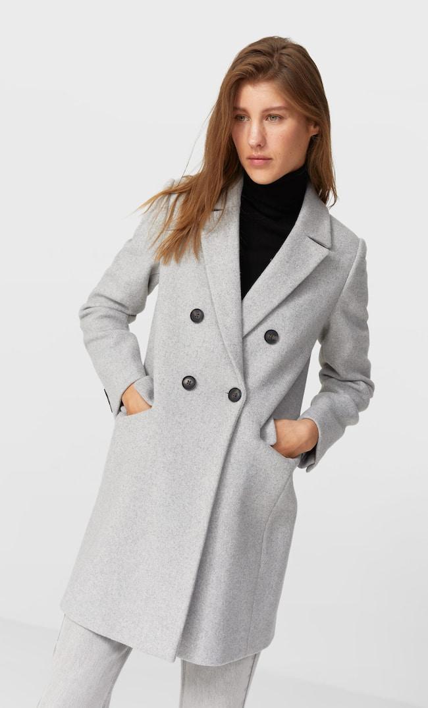 Двубортное Драповое Пальто Женская Коллекция Пестро-Серый S
