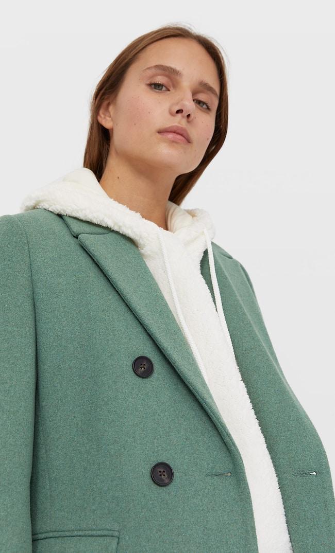 Двубортное Драповое Пальто Женская Коллекция Зеленый L