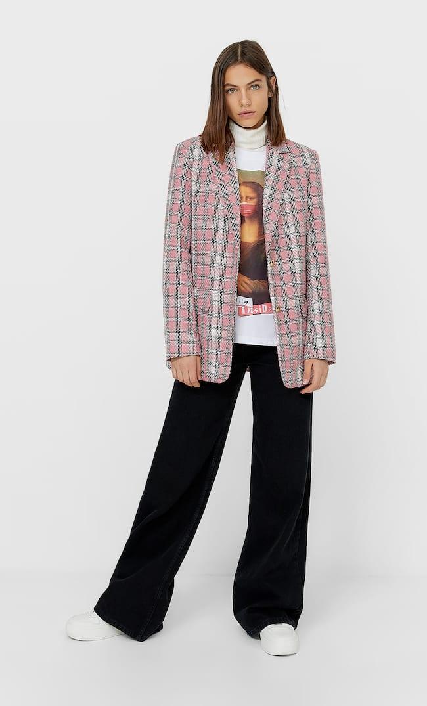 Пиджак В Клетку Женская Коллекция Ярко-Розовый S