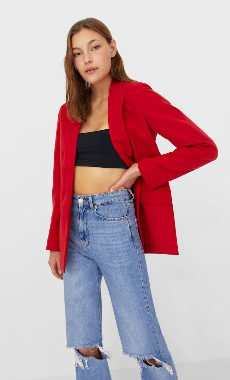 Открытый Блейзер Женская Коллекция Красный M