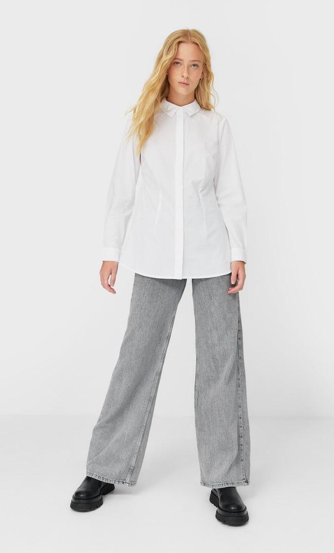 Рубашка Из Поплина Женская Коллекция Белый M