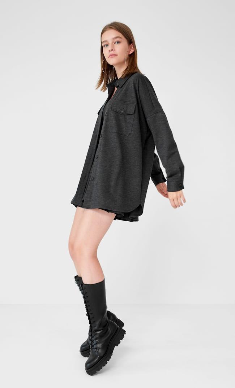 Трикотажная Куртка Рубашечного Кроя Женская Коллекция Темно-Серый S
