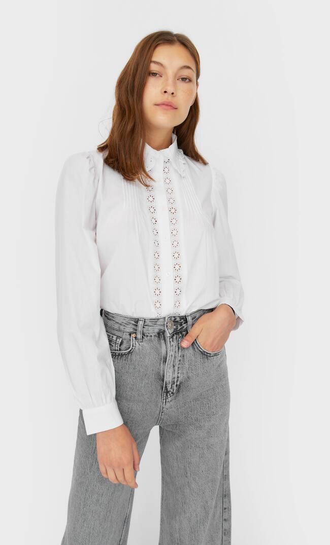 Рубашка В Романтическом Стиле Женская Коллекция Белый M