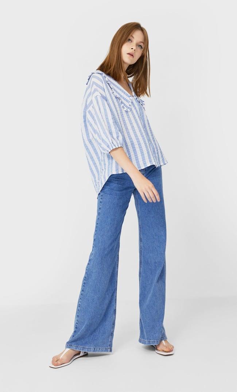 Рубашка Оверсайз С Отложным Воротником Женская Коллекция Небесно-Голубой M