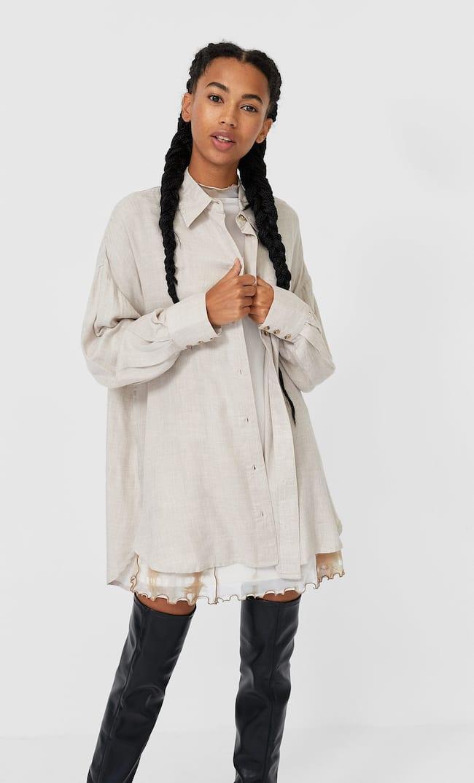 Длинная Рубашка Женская Коллекция Бежевый M