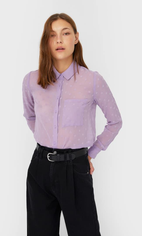 Полупрозрачная Рубашка Женская Коллекция Multicolor L