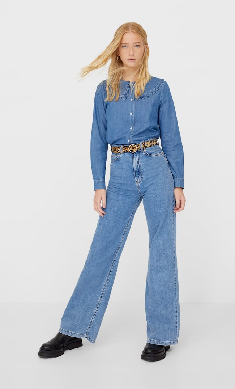 Джинсовая Рубашка С Отложным Воротником Женская Коллекция Средний Деним S