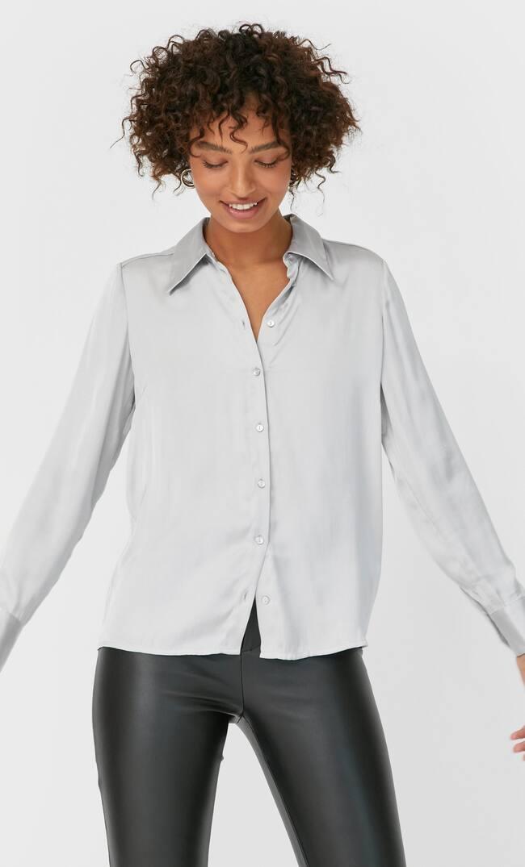 Рубашка Из Струящейся Ткани Женская Коллекция Жемчужно-Серый S