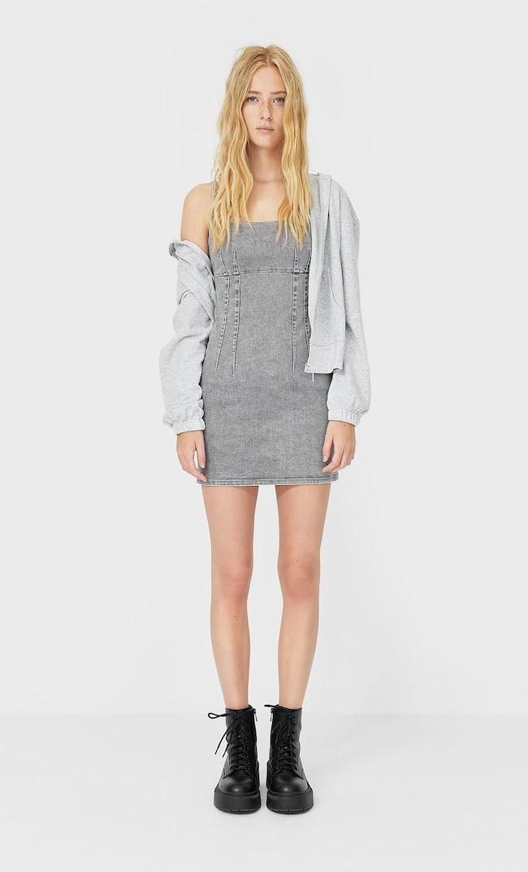 Короткое Джинсовое Платье Женская Коллекция Серый Средний S