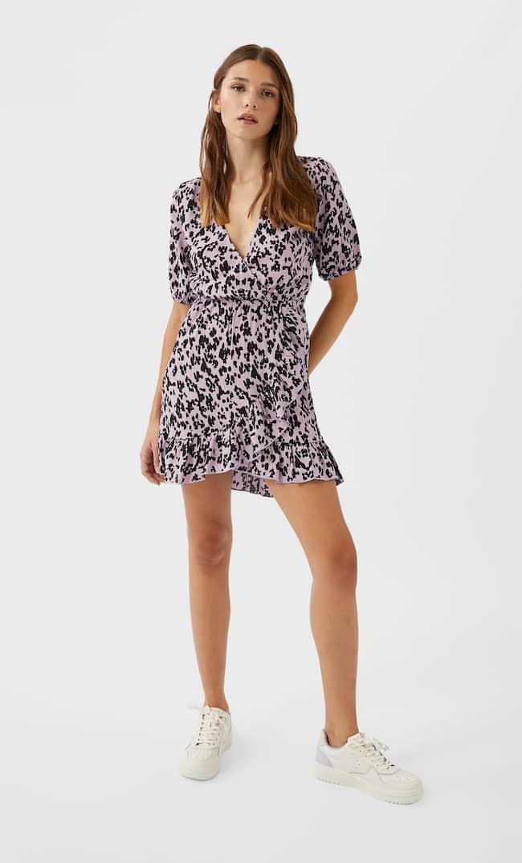 Короткое Платье На Запахе Женская Коллекция Multicolor L