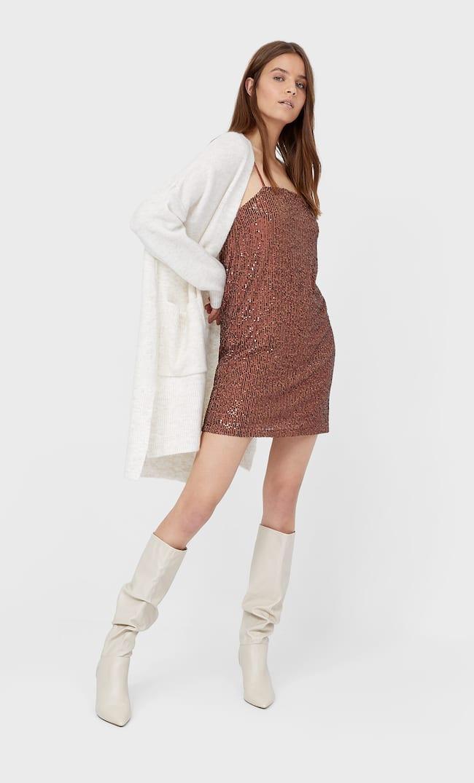Короткое Платье С Пайетками Женская Коллекция Цвет Темной Верблюжьей Шерсти Xs