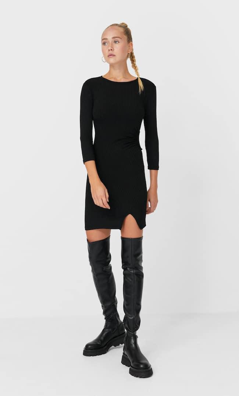 Короткое Платье С Разрезом И Вырезом Женская Коллекция Черный L