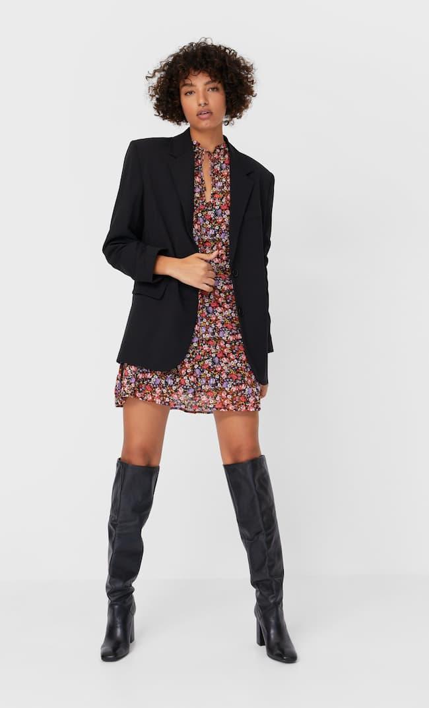 Короткое Платье С Принтом Женская Коллекция Черный L