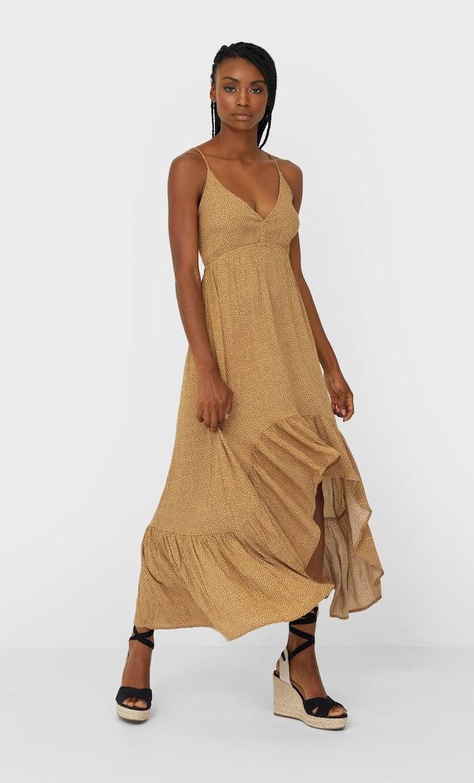 Платье Миди С Воланами Женская Коллекция Бежевый S