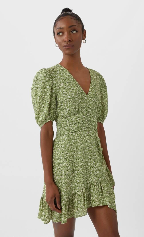 Мини-Платье С Плиссировкой Женская Коллекция Зеленый M