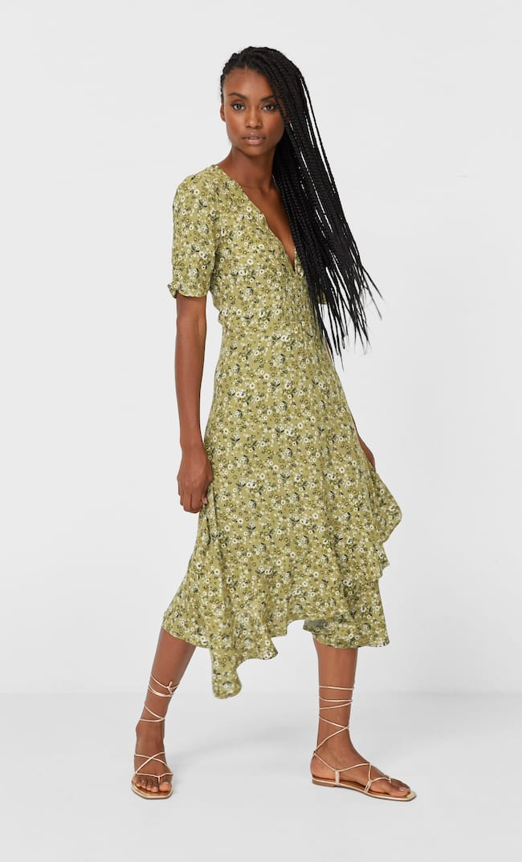 Платье Миди С Воланами Женская Коллекция Multicolor S