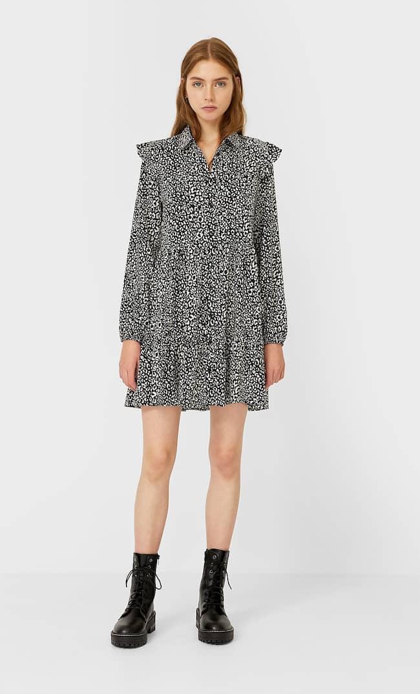 Платье-Рубашка С Воланом Женская Коллекция Черный S